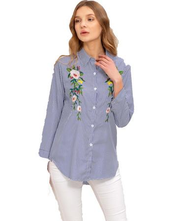 Ριγέ πουκάμισο με κέντημα - Μπλε 9ca3ac5d2b3
