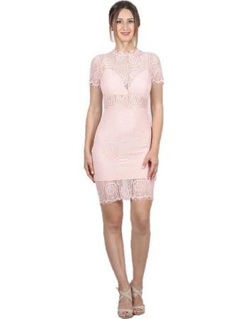 Φόρεμα κοντό ροζ δαντέλα με ανοιχτή πλάτη - Ροζ da9c8463f50