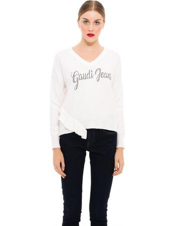 a9bfd59a2a69 Gaudi γυναικεία πλεκτή μπλούζα με στρας και βολάν - 821BD53027 - Λευκό