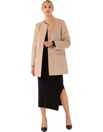 Παλτό χωρίς γιακά με τσέπες μπροστά που κλείνουν με φερμουάρ - Μπεζ 7fee9a82988
