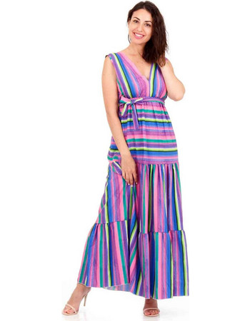 Μωβ Maxi Φόρεμα με Πολύχρωμες Ρίγες Μώβ Silia D 5397124d7b1