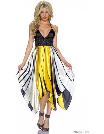 Μακρύ Βραδυνό Φόρεμα Κίτρινο- Μαύρο 30650178755