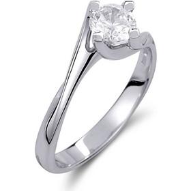 Μονόπετρο δαχτυλίδι από λευκό χρυσό 14 καρατίων με πέτρα Swarovski. PLL004 545735b44f6