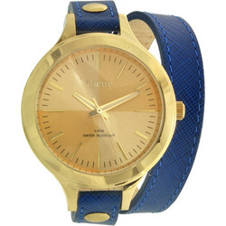 4ea6548688 Oxette Gold Blue Leather Strap 11X65-00065