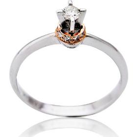 Μονόπετρο Δαχτυλίδι Λευκό και Ροζ Χρυσό Κ18 με Διαμάντια Μπριγιάν 030990 a8b851840e8