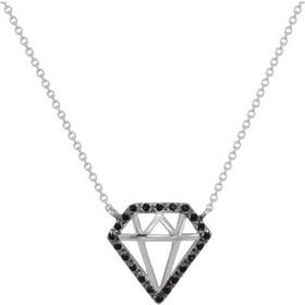 Κολιέ διαμάντι με μαύρα ζιργκόν σε Λευκό Χρυσό Κ14 a34964d37eb