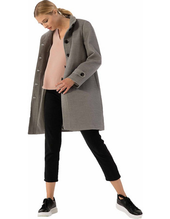 Παλτό σε ίσια γραμμή με πλαϊνές τσέπες - Γκρι 4a18d8913de