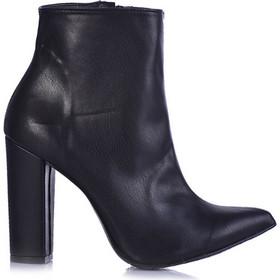 Μποτάκια μαύρο δερματίνη μυτερά με χοντρό τακούνι 3816178bl. Tsoukalas Shoes 5fe98f861fc