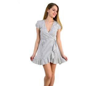 1d180bd82271 Γυναικείο mini φόρεμα πουά κρουαζέ λευκό Brown Sugar 014000036