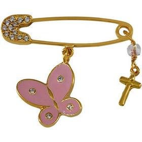 Φυλαχτό για νεογέννητο κοριτσάκι χρυσό ασήμι 925 με πεταλούδα και σταυρό 4c9e74a7715