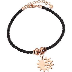 Βραχιόλι Μαύρο Κορδόνι Και Μεταλλικό Στοιχείο Ήλιος Σε Ροζ Χρυσό Χρώμα  Loisir 13fc146883c