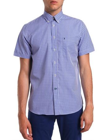 33f1dd7a9660 Ανδρικό κοντομάνικο καρό πουκάμισο The Bostonians - BACH7278 - Μπλε Σκούρο