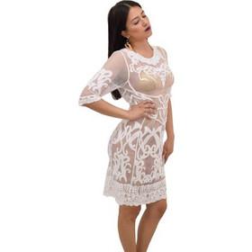 46b51792444e Φόρεμα διαφάνεια και δαντέλα Ble 5-41-151-0112 - λευκό