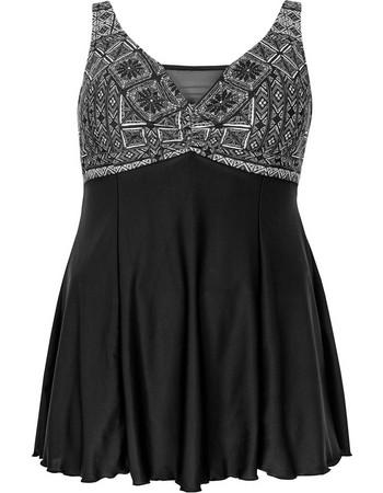 Μαγιό-Φόρεμα με Ασπρόμαυρο Σχέδιο στο Στήθος 618d62ee7af