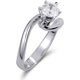 Μονόπετρο δαχτυλίδι από λευκό χρυσό 14 καρατίων με πέτρα Swarovski. PLL006 7d359cc4931
