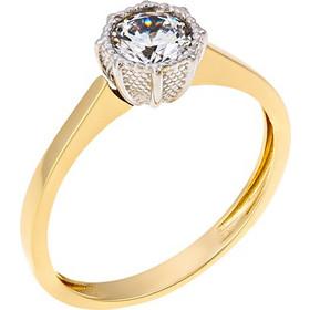 Μονόπετρο δαχτυλίδι από λευκό και κίτρινο χρυσό 14 καρατίων με ζιρκόν.  MM09287 216a45ad323