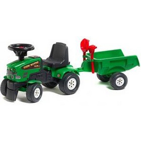 Falk 1081C Baby Farm Mustang 350S + Trailer With Rake & Shovel