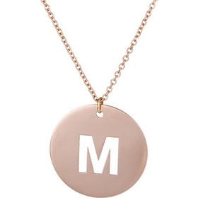 Ροζ gold κολιέ Κ14 με μονόγραμμα Μ 026264 026264 Χρυσός 14 Καράτια 4431d3d4026