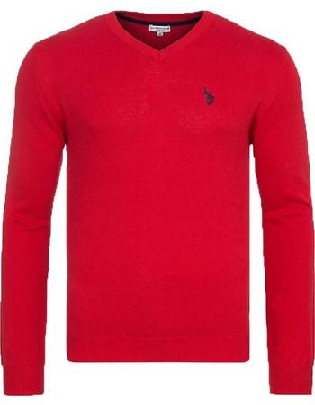 Ανδρικό Πουλόβερ V-Neck Xρώματος Κόκκινο U.S. Polo ASSN 27d94e372a0
