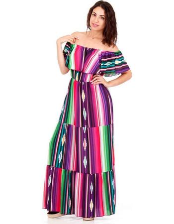 Πολύχρωμο Maxi Strapless Φόρεμα με Ρίγες και Βολάν Μαύρο Silia D 9a4c75ed873