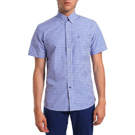 c34d86c624a1 Ανδρικό κοντομάνικο καρό πουκάμισο The Bostonians - BAP1103 - Μπλε Σκούρο