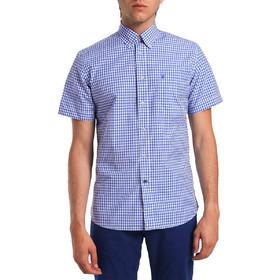 7d131eb0546b Ανδρικό κοντομάνικο καρό πουκάμισο The Bostonians - BAP1103 - Μπλε Σκούρο