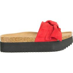 443b12bd164 Γυναικείες κόκκινες Flatforms παντόφλες σουέντ φιόγκος DCS0620