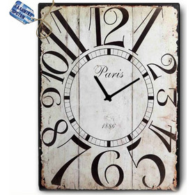 Vintage Ρολόι Τοίχου Paris - Ξύλινο Χειροποίητο 48x64 cm 137b785832b