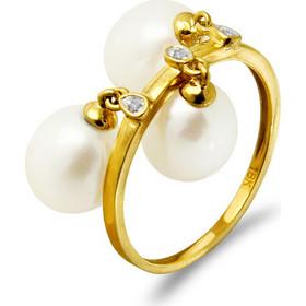 Δαχτυλίδι με μαργαριτάρια και διαμάντια σε χρυσό Κ18 - G318441 47a10161522