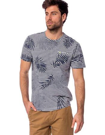9cb0b35647de Ανδρικό Ριγέ Κοντομάνικο Jersey T-Shirt HEAVY TOOLS MEDSEY Μπλε