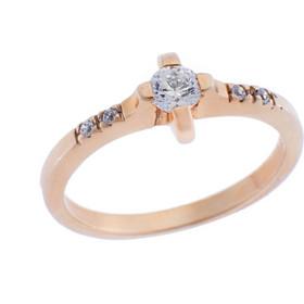 Ασημένιο Μονόπετρο Δαχτυλίδι 925 σε Ροζ Χρώμα με Ζιργκόν d313b41033e