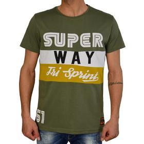 0d4d548307ef Ανδρικό t-shirt Madmext λαδί με τύπωμα 1855U