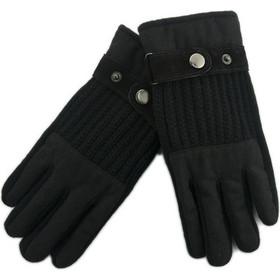 Stamion Ανδρικά δερμάτινα γάντια με πλεκτές λεπτομέριες 111899-Μαύρο f527a452d56