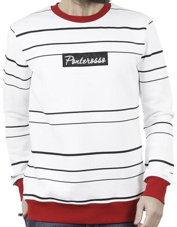 Ανδρικό Μπλούζα Φούτερ PONTEROSSO 18-2057 STRIPES Ριγέ Κόκκινο. Ponte Rosso d704f7be355
