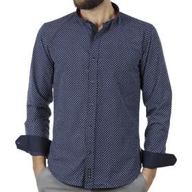 0a149432736a Ανδρικό Μάο Μακρυμάνικο Πουκάμισο Slim Fit CND Shirts 4550-3 Navy