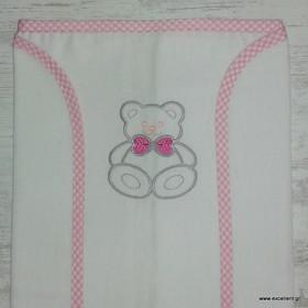 Πάνα αγκαλιάς φανελένια λευκή με κεντημα αρκουδάκι ροζ 7b7d6dd5d76