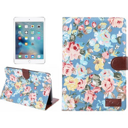 Peony Pattern Denim Texture Leather Case with Card Slots & Holder & Wallet ...