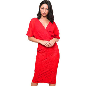 1fc7e4899087 cocktail chic φόρεμα midi chiffon δαντέλα Joanna fire red