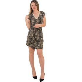 c57f4b8726f2 Γυναικείο μαύρο λεοπάρ αμάνικο φόρεμα με ζωνάκι 1175826