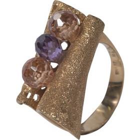 Γυναικείο δαχτυλίδι χειροποίητο σε κίτρινο χρυσό Κ14 με αμέθυστο και sitrin  πέτρες 49fd2cbeabe