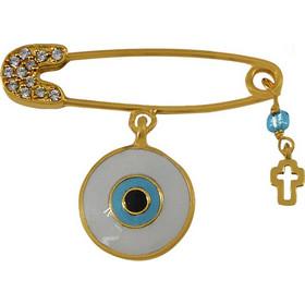 Φυλαχτό για νεογέννητο χρυσό ασήμι 925 με ματάκι και σταυρό 255f8d164e0