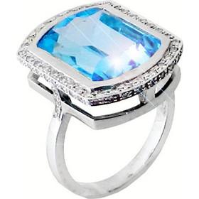 Λευκόχρυσο δαχτυλίδι ροζέτα Κ18 με brilliant και ορυκτό μπλέ τοπάζι DBR158A d2556d4bd36