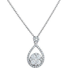 Κολιέ δάκρυ από λευκό χρυσό 18 καρατίων με διαμάντια 0.66ct συνολικά.  KV22193 14999de6475