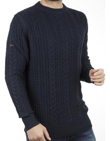 032eb8201e06 Ανδρικό Πουλόβερ Πλεκτή Μπλούζα Sweater Round Neck DOUBLE KNIT-15 Navy