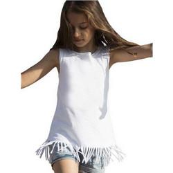 6043e6a7b154 550 Παιδικό αμάνικο μπλουζο-φόρεμα από βαμβακερό ύφασμα με κρόσια - WHITE