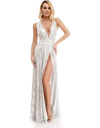 9245 RO Σέξυ μάξι φόρεμα με βαθύ ντεκολτέ και έντονο σκίσιμο - Ασημί 60e9d382f32