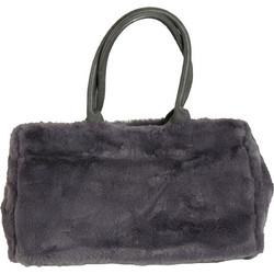 Γυναικεία γκρι γούνινη τσάντα ώμου με χειρολαβές 2502G a51613cf763