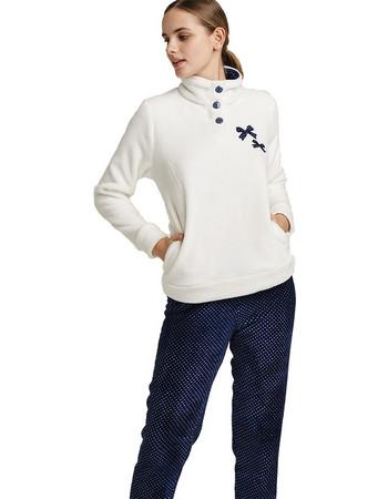 Noidinotte Γυναικεία Πιτζάμα Fleece Fa 6631 Λευκό Μπλε 45161c1eb1e