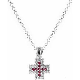 Κολιέ σταυρός από ασήμι με πέτρες swarovski 748987c17c4