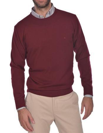 Dur ανδρική πλεκτη μάλλινη μπλούζα μονόχρωμη με στρογγυλή λαιμόκοψη -  30211071 - Μπορντό 02af67282b8